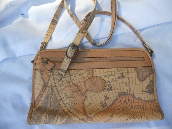 Allan Edward AE Map of the World Handbag Purse