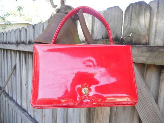 Lipstick Red High Gloss Handbag Vintage Purse