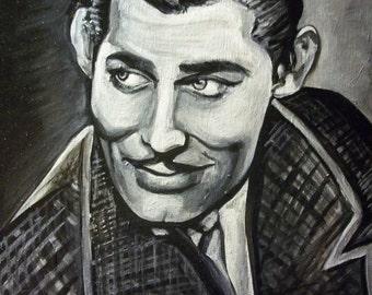Clark Gable painted portrait in acrylic SALE