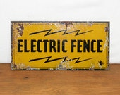 Vintage Industrial Electric Fence Sign - AuroraMills