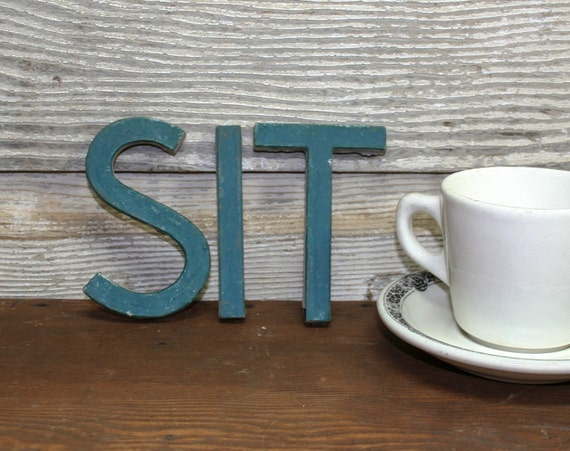 "Vintage Ceramic ""SIT"" Sign Letters"