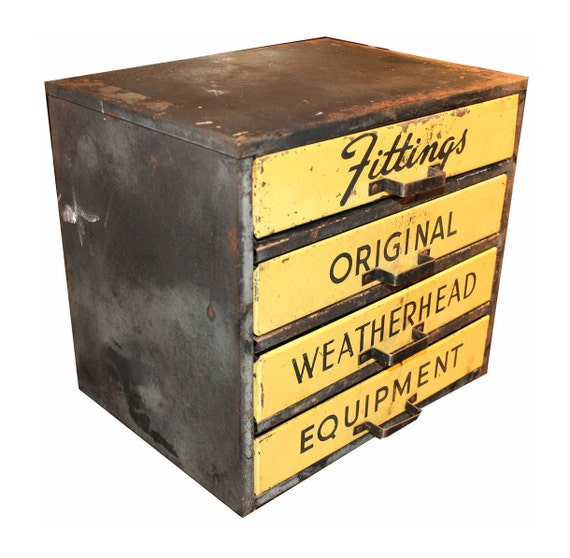Vintage Industrial Metal Parts Cabinet -- Fittings Original Weatherhead Equitpment