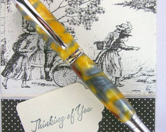 Hand Turned Acrylic Pen Rollerball Handcrafted using Rhodium Hardware 230RBA