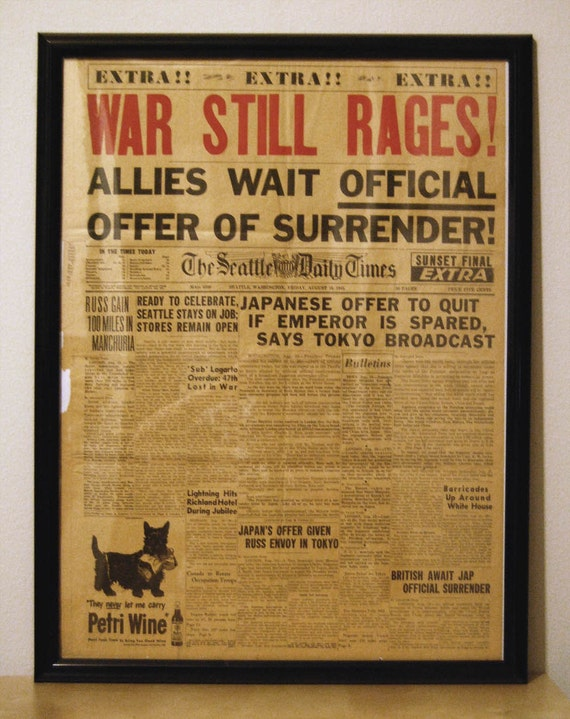 WWII Newspaper Front Page
