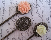 Bobby Pin Blanks / 6 to 15 pcs Antique Bronze Filigree Hair Pin / Oval Hairpin / Bobby Pin with Oval Pad for Cabochon Flowers