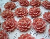 Resin Cabochon / 6 pcs Dusty Rose Resin Flowers / Rose Cabochons 18mm x 16mm