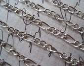 Figaro Chain / Silver Colored Mother Son Chain / 10 to 20 Feet Open Link Chain / Necklace Finding