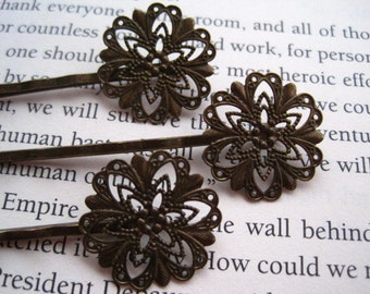 Bobby Pin / Hair Pin 6 to 20 pcs Antique Bronze Filigree Bobby Pin with 20mm Glue Pad for Cabochon Flowers / DIY Hair Accessory