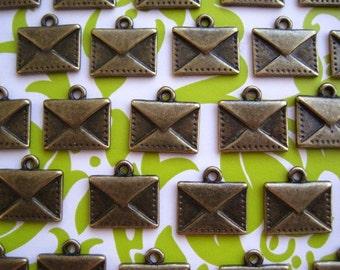 Envelope Charm Love Note Charm 12 pcs Antique Bronze Color 15mm x 14.5mm Nickel Free