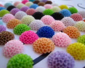Resin Cabochon Flower/ Resin Flower Cabochons 24 pc Mixed Lot 15mm Resin Dahlia Mum Cabochon ....Perfect for Rings, Bobby Pins and more