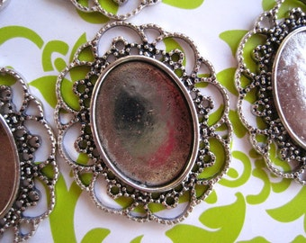 Tibetan Style Cabochon Setting/ Cameo Setting 5 pcs Antique Silver- 35mm x 41mm Fits 23mm x 18mm