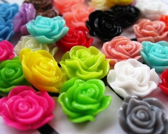 Resin Flower Cabochon GRAB BAG 20 pcs Mixed Flowers Resin Flower Rose Dahlia Mum