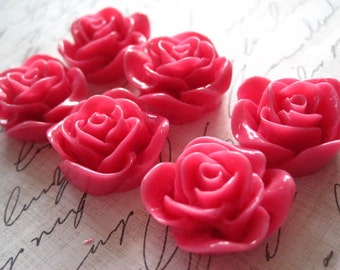 Resin Flower Cabochon / 6 pcs Deep Pink Resin Rose / Resin Cabochons 22mm