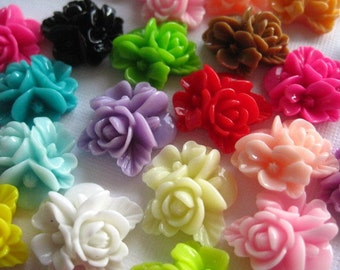 Resin Cabochons / Resin Flower Cabochons 12 pc Mixed Lot 16mm x 16mm.... Perfect for Bobby Pins