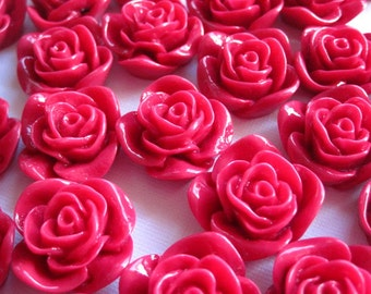 Resin Flower Cabochon / 6 pcs Red Cabochon Rose / Resin Cabochons 22 mm