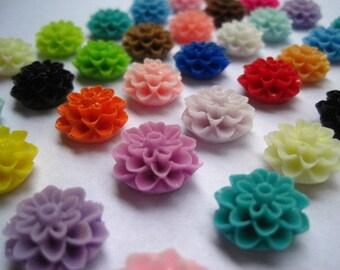 Resin Cabochons / Resin Flowers / 24 pcs Dahlia Mum Cabochons / Mixed Lot