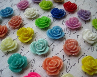 Resin Cabochons / Mixed Lot Resin Flowers / 12 pcs Resin Rose Cabochons / Mixed Lot