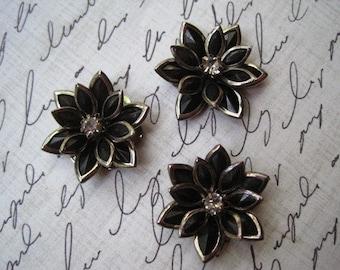 Black Rhinestone Flowers / 3 to 12 pcs Flat Back Rhinestone Flowers / 24mm