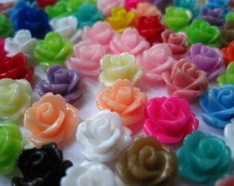 Resin Cabochon / Cabochon Flowers / Resin Flower Rose Cabochons / 12 pc Mixed Lot 10mm Cabochons.. Perfect for Rings, Bobby Pins and more