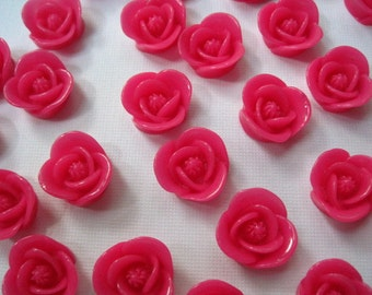 Hot Pink Resin Flowers / 8 pcs Resin Cabochon Flowers / Rose Cabochons 17mm