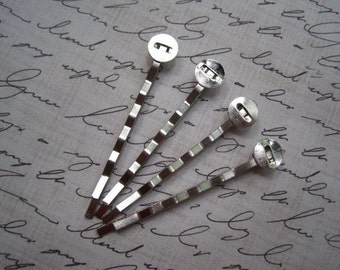 Bobby Pin with Glue Pad.... 10 pcs Platinum Color Plain Bobby Pin / Hair Pin with Pad for Cabochon Flowers