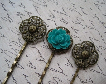 Filigree Bobby Pin, 6 to 20 pcs 20mm Antique Bronze Filigree Flower Bobby Pin with Pad for Cabochon Flowers
