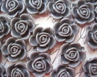 Gray Flower Cabochons 12 pcs Resin Cabochon Flowers... Gray Rose Flower  15mm