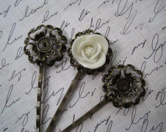 Bobby Pins / Hairpins 6 to 15 pcs Antique Bronze Filigree Flower / 23mm Glue Pad / Works Beautifully with Cabochon Flowers