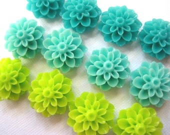 Resin Flower Cabochons .... 12 pc Resin Mum Dahlia Cabochon in Aqua Turquoise Lime Green