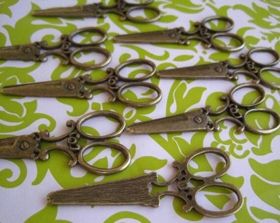 Scissors Charm Sewing Shears Charm 2 pcs Antique Bronze Color 61mm x 25mm