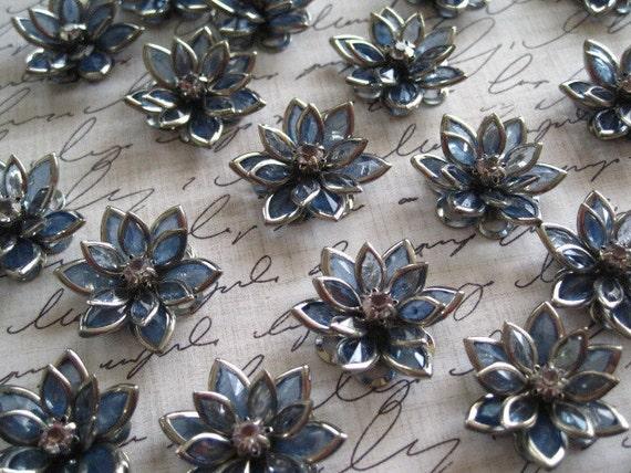 Blue Rhinestone Flower... 15 pcs Blue Flower Cabochons with Rhinestones/ 24mm