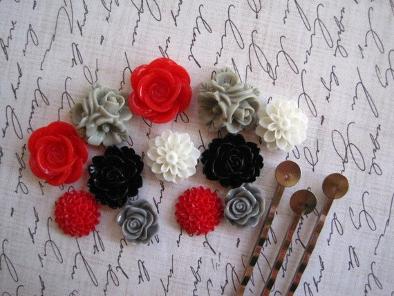 Resin Cabochon Flowers... Cabochon Kit with Bobby Pins / 12 pcs Resin Dahlia Mum Rose Cabochon Kit / Red Black Gray White