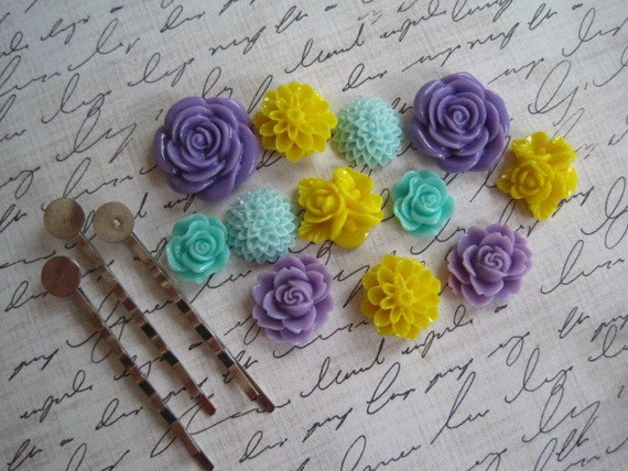 Resin Cabochon Kit- Cabochon Flowers with Bobby Pins / 12 pcs Resin Dahlia Mum Rose Cabochon Kit / Mixed Lot