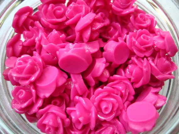 Hot Pink Flower Cabochon Roses / 12 pcs 10mm Resin Cabochons / Resin Rose Cabochons