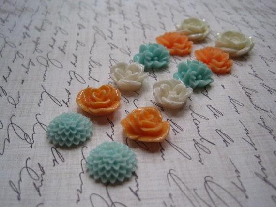 Flower Cabochons... 12 pc Resin Rose Dahlia Flowers in Orange Sherbert, White, Aqua... Perfect for Rings, Bobby Pins and Earrings