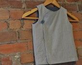 Toddler boy lined vest tunic -- in cream and gray houndstooth, cotton flannel, fits 2T and 3T