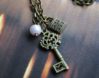 Vintage key & lock bronze pendant necklace, pearl, antique inspired jewellery charm