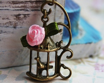 virgo special: Vintage rose birdcage charm necklace, antique bronze pendant, pink flower cottage chic jewellery, bird accessory