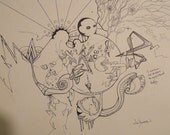The Mind Wanders - Abstract, Surreal, Geometrical, graffiti, detail, pen, ink, sketch, drawing. PRINT