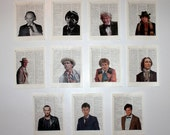 T is For Time Lord Doctor Who Eleven Doctors Art Prints Set of 11 - 8x10 Recycled Dictionary Pages FREE SHIPPING