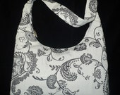 SALE-Black & White Paisley Shoulder Bag Purse, handmade hobo