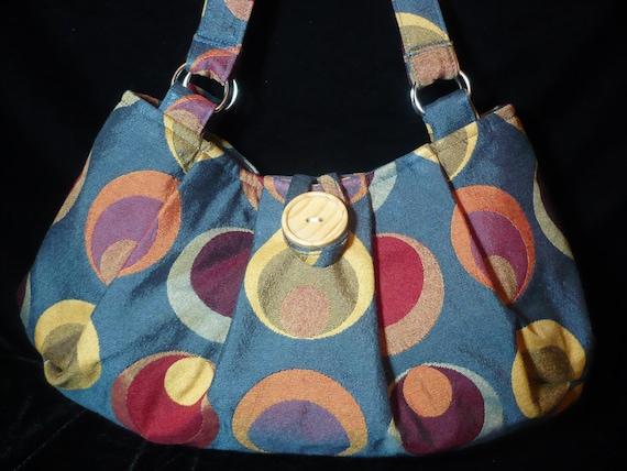 Teal Pleated Bag Purse Handbag in Polka  Dots and Circles