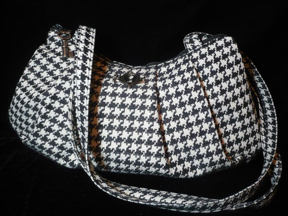 Houndstooth Pleated Black and White Bag/Purse/shoulder bag