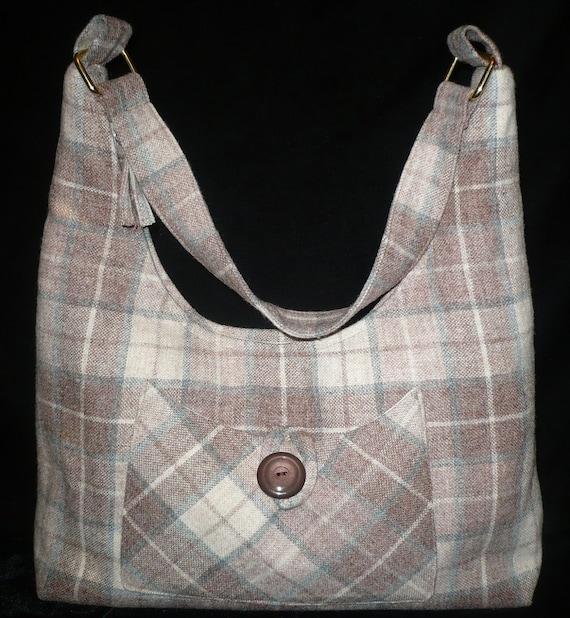 Hobo Bag/Purse/shoulder bag in Brown wool plaid