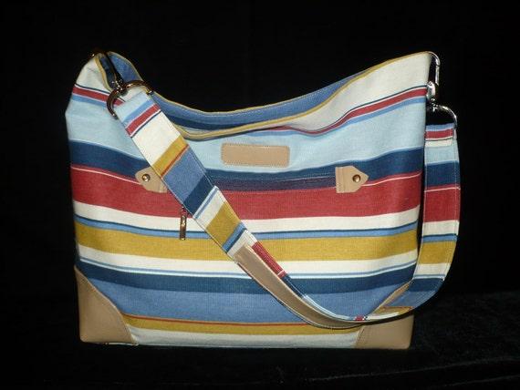 SPRING Hobo Bag/Purse in Canvas & Leather Slouch Shoulder Bag Handmade