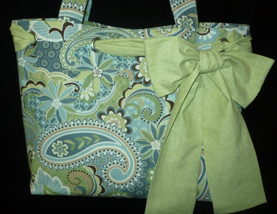 Large Paisley Canvas Tote Bag Purse with Bow in Greens & Blues, Handmade shoulder bag