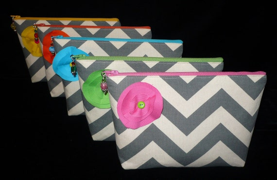 Bridesmaids Set of 5 Chevron Make Up/Cosmetic Jeweled bags purses, Ready to Ship, handmade