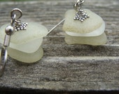 Citron and White Beach Glass Stacked Earrings