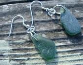 Olive Green Beach Glass Drop Earrings