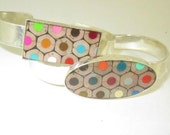 Cross Cut Colored Pencil Silver Plate Cuff Bracelets